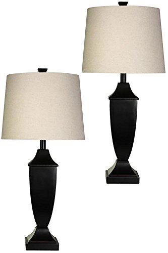 StyleCraft Classic Table Lamp w/ Bronze Wood Finish And Round Shades, Set of (Bronze Finish Tiffany Table Lamps)
