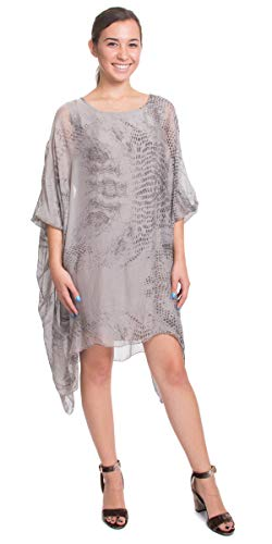Made in Italy Snake Printed Silk Kaftan Style Tunic Dress (Taupe)
