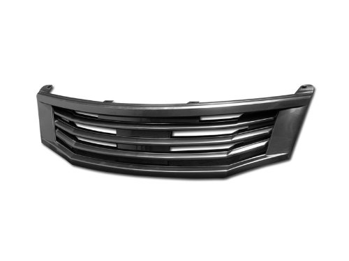 BLK MU STYLE BADGELESS FRONT HOOD BUMPER GRILL GRILLE 2008-2010 HONDA ACCORD (4dr Front Hood Grille)
