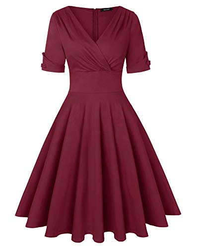 ROOSEY Womens 1950's Floral Retro Vintage Style Round Neck Cocktail Party Swing Dress (Wine Red, L) -