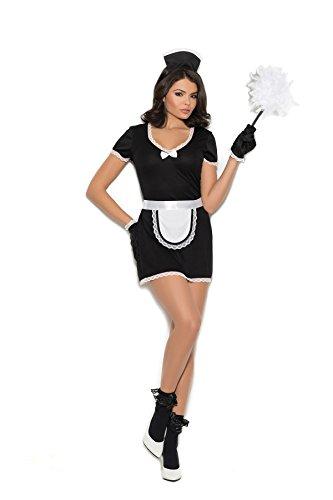 Zabeanco Flirty Maid 4 Pc. Costume Mini Dress, Apron, Head Piece Gloves