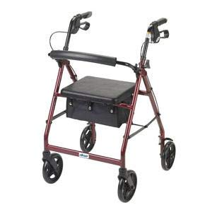 Drive Medical Rollator Walker with Fold Up and Removable Back Support and Padded Seat, Blue Aluminum 4 Wheeled Rollator