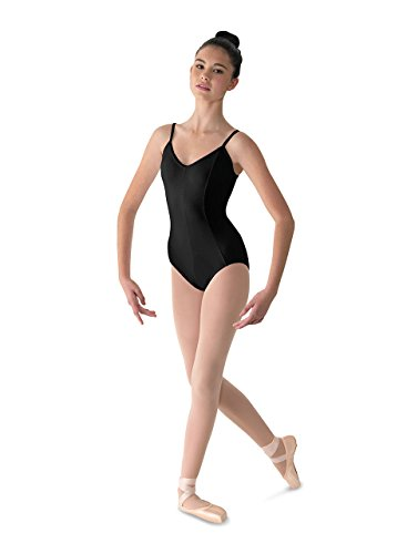(Mirella Women's Microlux Princess Seam V-Front Camisole Dance Leotard,Black,Small)
