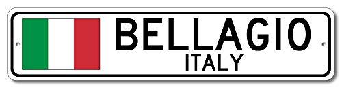 Bellagio, Italy - Italian Flag Sign - Aluminum 4