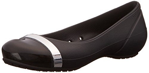 crocs Women's Cap Toe Mirror W Ballet Flat, Black/Black, 6 B(M) US