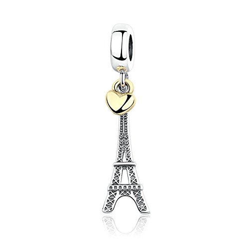 The Kiss Welcome to Las Vegas London Paris Places of Interest Holiday Vacation Bead 925 Sterling Silver Bead Fits European Charm Bracelet (Eiffel Tower Dangle with Golden Heart)