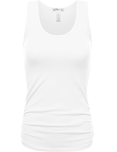 Fifth Parallel Threads FPT Womens Cotton Spandex Basic Tank Top With Ruched Side White (Basic Womens Lycra Shirt)