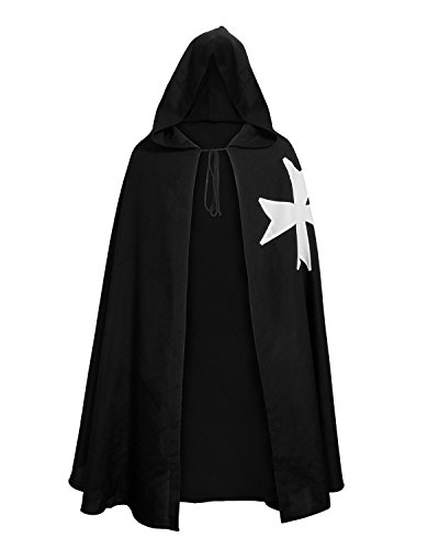 Adult Medieval Templar Knights Hooded Robe Cloak Fancy Halloween Costume Cape (Black)