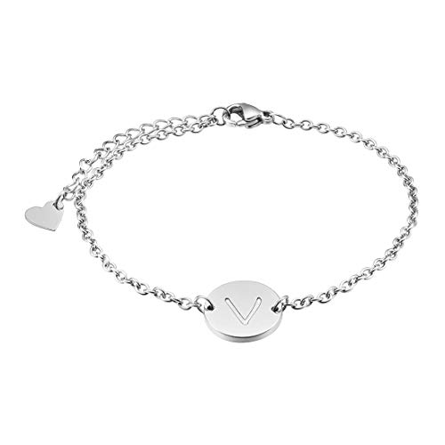 THREE KEYS JEWELRY Silver Tone Initial V Bracelet 316L Stainless Steel Disc Pendant Heart with Letter Alphabet for Womens and Girls(6.5
