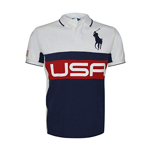 Multi Striped Polo Shirt - Polo Ralph Lauren Mens Big Pony Country Custom Fit Mesh Polo Shirt (Small, White/Multi USA)