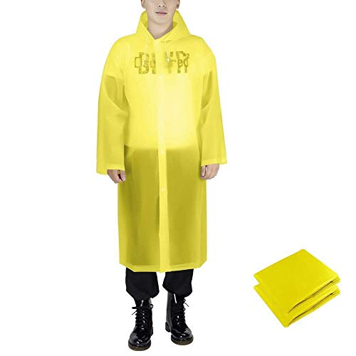 Silkclo 2 Pack Reusable Rain Ponchos for Adult,Emergency Rain Coat with Hood & Sleeves,for Camping Hiking,Traveling,Fishing (Yellow)