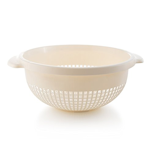 Safe Plastic Colander Dishwasher (YBM Home 14 Inch Deep Plastic Strainer Colander with Handle – Made of Food Safe BPA-Free Plastic - Dishwasher Safe - Use for Pasta, Noodles, Spaghetti, Vegetables and More 31-1128-ivory (1, Ivory))