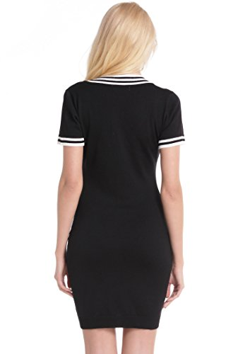 Abollria Women's Girls Long Sleeve Dress V-Neck Knit Sweater Bodycon Knee Long Dress Black