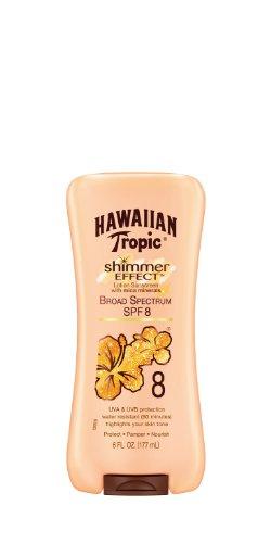 - HAWAIIAN Tropic SPF 8 Sunscreen Lotion, Shimmer Effect, 6 Fluid Ounce