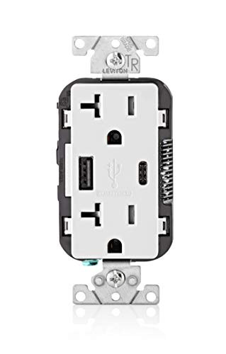 Leviton T5833-W 15-Amp Type A & Type-C USB Charger/Tamper Resistant Outlet, Compatible with Apple Devices, Samsung Devices, Google Devices and More - Not for Laptops, White