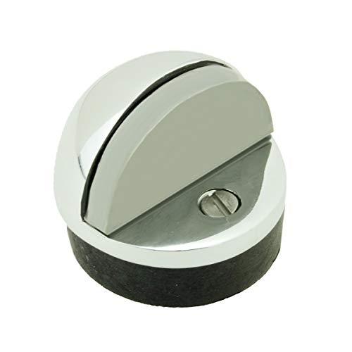Brass Door Stop Chrome Dome Floor Mount Bumper Low Profile Screws ()