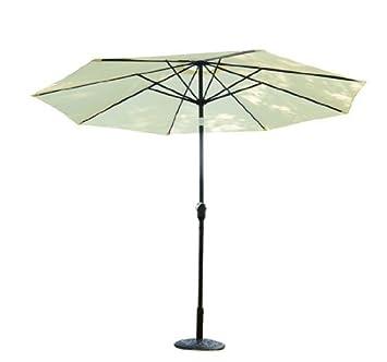 outsunny sombrilla parasol aluminio poliester inclinable reclinable terraza jardin blanco