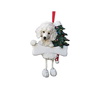 """Poodle Ornament White with Unique """"Dangling Legs"""" Hand Painted and Easily Personalized Christmas Ornament 10"""
