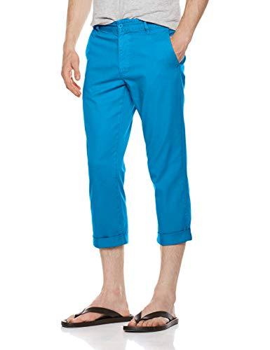 Quality Durables Co. Men's Stretch Cotton Flat-Front Cropped Casual Capri Pants Cobalt Blue 34