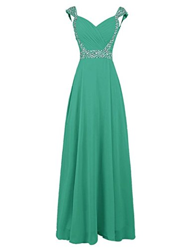 Gowns Chiffon Long Cap Sleeve Women's Green Fanciest Bridesmaid Prom Beaded Dresses RHgxP