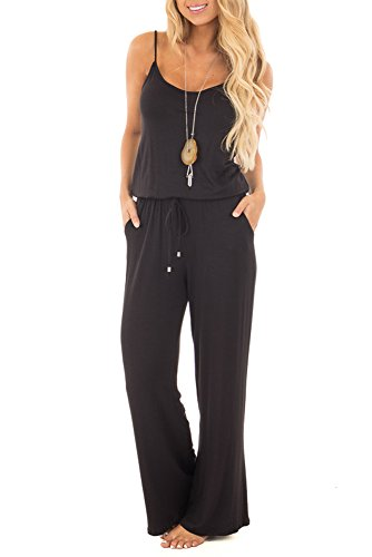 2ec08f388 sullcom Women Summer Solid Sleeveless Wide Leg Jumpsuit Casual Spaghetti  Strap Stretchy Long Pant Rompers