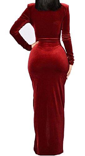 Velour Patché À La Mode De Confortables Femmes Vin Robe Pure Garden Party De Couleur Rouge