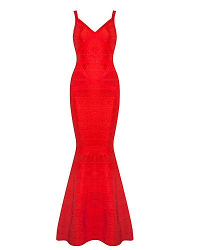 Whoinshop Women's V-Neck Backless Fishtail Bandage Long Evening Formal Maxi Dress (L, Red)