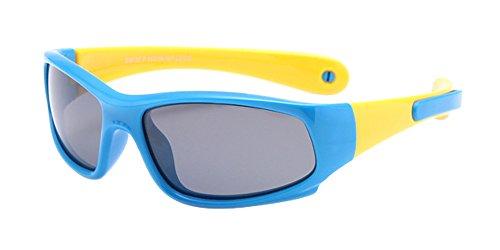 BOZEVON Lunettes de Soleil Polarisées pour Enfants Garçons Filles Monture en caoutchouc flexible Sport Lunettes Bleu Royal/Jaune