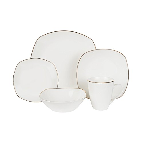 Klikel 20-piece Alyssa Gold-rimmed Square Bone China White Dinnerware Tableware Dining Set With Service For 4, Includes Dinner Plate, Salad Plate, Bread Plate, Bowl, And Mug (Mug China Square)