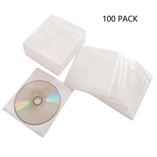 HAPLIVES CD/DVD/BluRay Sleeves,Double-Sided Refill Plastic Sleeve for CD and DVD Storage Binders,100 Pack (White)