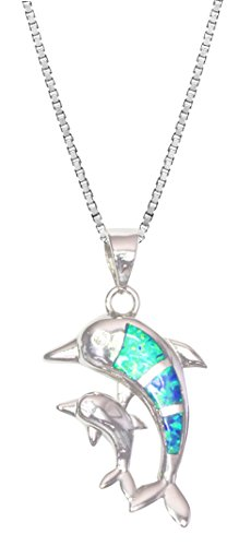 Dolphins Opal Necklace - Tropical USA Sterling Silver Synthetic Opal Mother and Baby Dolphin Necklace Pendant with 18