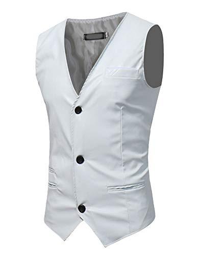 Bouton Veste Sans Blanc Causual Homme Costume Couleur Pu V Manches Unie Gilet neck zFqSqxPd