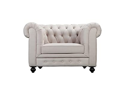 Amazon.com: Pangea Home Z Beige Chester 1 Seater Sofa Fabric ...
