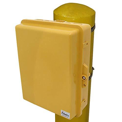 Altelix Yellow Pole Mount NEMA Enclosure (12'' x 8'' x 4'' Inside Space) Polycarbonate + ABS Weatherproof Outdoor High Visibility NEMA Box by Altelix