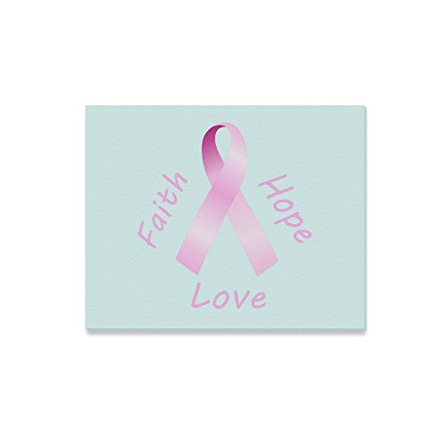 Breast Cancer Aawreness Quotes Faith Hope Love Pink Ribbon Oil Painting Home Decorative Canvas Prints- 20x16 Inch(One Side) (Hope Faith Love Pink Ribbon)
