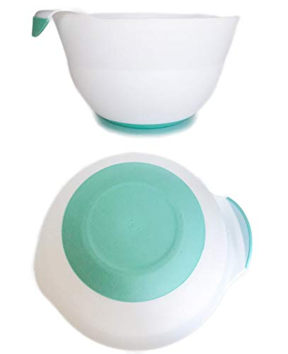 Honla 3 Quart Plastic Mixing Bowl,Set of 2,with Easy Grip Handle,Non Slip Bottom,Pour Spout,Measurement Marks,Flexible and Unbreakable,White,Turquoise
