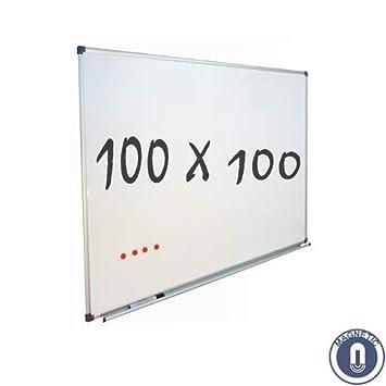 Pizarra Blanca Magnética (100x100 cm): Amazon.es: Oficina y ...
