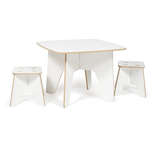 Modern Kids Table and Two Stool Set, White Folding Activity Table, American Made