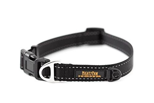 Mighty Paw Reflective Dog Collar, Premium High Visibility Collar (Medium, Black)