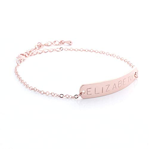 - Free same day shipping under 20 Custom Name Bar Bracelet- Gold Silver Rose Gold Plated Personalized bracelet with Symbol Stamp Bridesmaid Birthday Christmas Gift Best Graduation Day gift