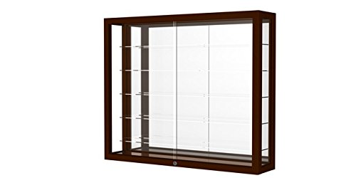 Waddell 8903M-MB-C Heirloom 36 x 30 x 8 in. Wall Case Hardwood with 5 Shelves44; Mirror Back - Cordovan