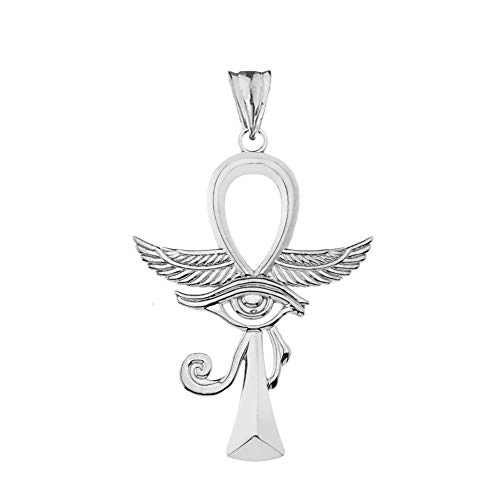 - Dazzling Sterling Silver Ankh Cross with Eye of Horus Pendant