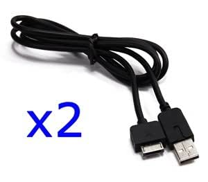 Bluecell 2 pcs Black 1.1 Meters replacement USB Data/charge/Sync cable for PS Playstation Vita
