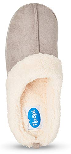 Slipper Womens Grey W 301 Indoor Floopi Lined Clog Fur Memory Outdoor Foam wxpqvY