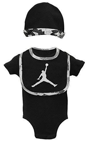 NIKE Baby Boys Air Jordan Boys Bodysuit, Hat, Bib - Black (3-6 Mos.)