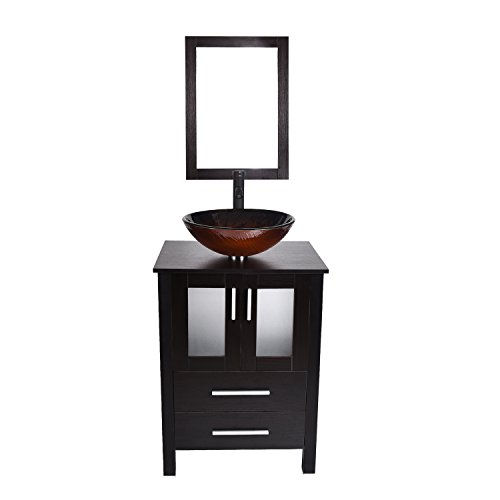 Black Vanity Cabinet - Modern 24 inch Bathroom Vanity MDF Floor Cabinet with Mirror Counter Top Round Basin Tempered Glass Vessel Sink Faucet Pop Up Drain Combo