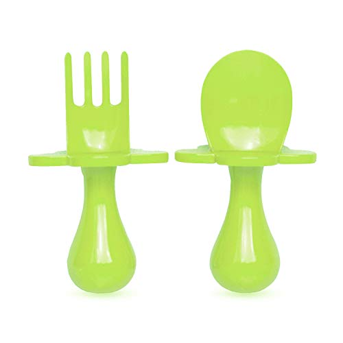 grabease First Training Self Feeding Utensil Set of Spoon and Fork for Toddler and Baby. BPA Free. to-go Pouch (Green) ()