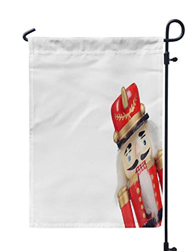 Soopat Nutcracker Seasonal Flag, Old Fashioned Wooden Christmas Antique Beard Black Weatherproof Double Stitched Decorative Flags for Garden Yard 12 L x 18 W Welcome Garden - Nutcracker Coat