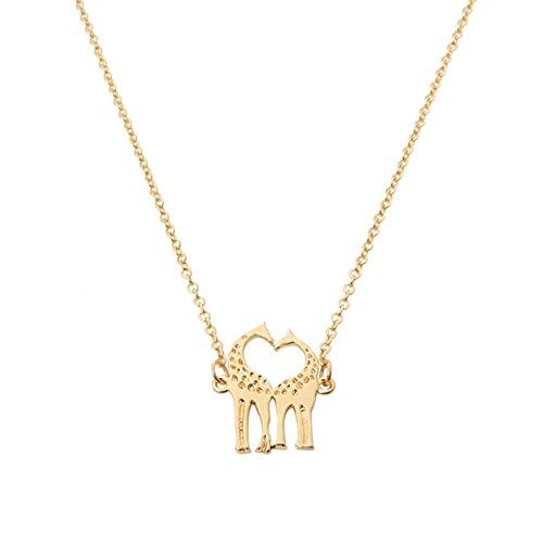Two Giraffe Couple In Love Heart Shaped Pendant Necklace for (Heart Shaped Giraffes)