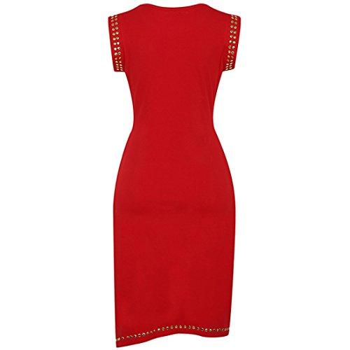 Robes Kaxidy Dames Mancherons Midi Bal Robe De Soirée Robes Crayon Mince Mini Robe Moulante Rouge